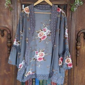 Floral Lace Kimono Cover